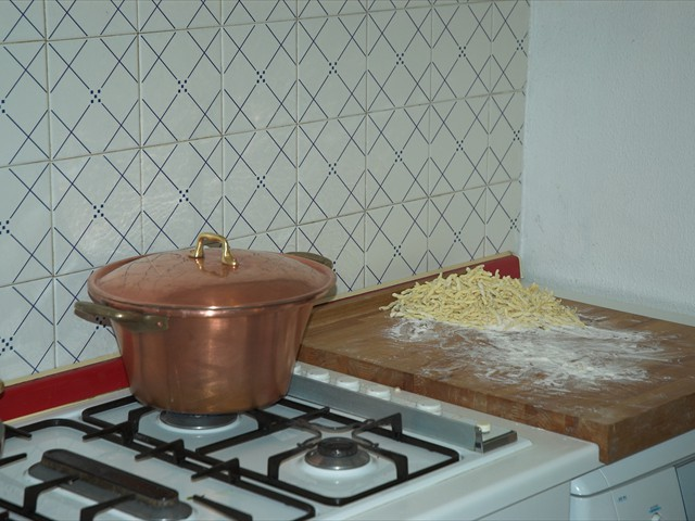 We use a not tinned polenta pot to cook pasta